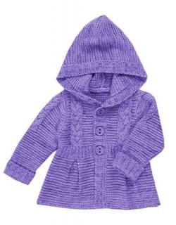 Лавандовый жакет с капюшоном для девочки — описание вязания.