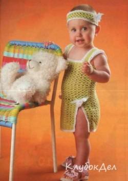 Детская туника и повязка на голову. Вязание крючком для самых маленьких