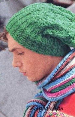 Мужская зеленая шапка и шарф в полоску
