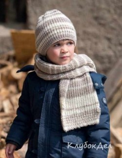 Детская шапка и шарф связанные спицами. Вязание для женщин