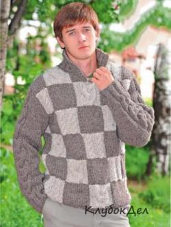 Пуловер для мужчин с шахматным узором, схемы и описание вязания на спицах