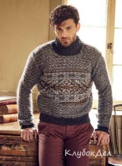 Мужской свитер спицами с жаккардовыми узорами. Схемы и описание