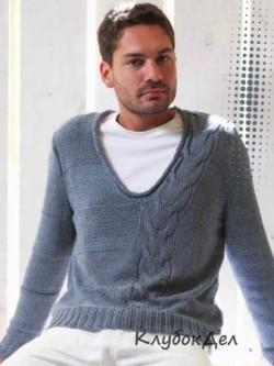 Мужской пуловер с косой. Вязание спицами для мужчин