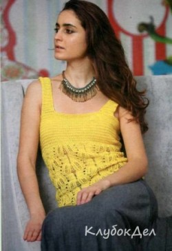 Жёлтый топ вязаный спицами. Вязание для женщин спицами
