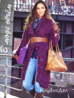 Пальто спицами с фантазийным узором. Вязание спицами для женщин