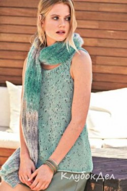 Вязаный шарф с узором из спущенных петель, схема и описание для женщин