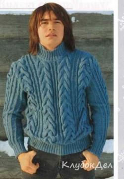 Вязаный мужской свитер с косами. Вязание спицами для мужчин
