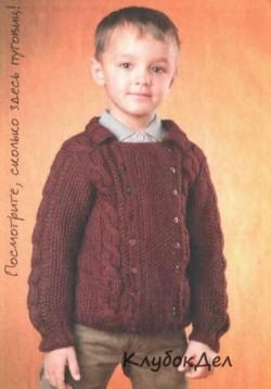 Двубортный жакет для мальчика. Вязание спицами для детей, схемы и описание