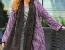 Связанный поперек жакет и шарф. Вязание спицами для женщин