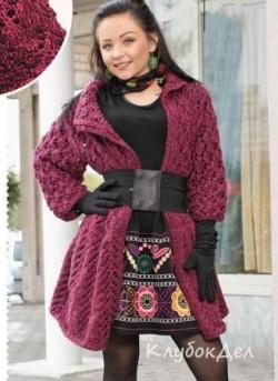 Ажурное пальто спицами. Вязание для женщин схемы и описание