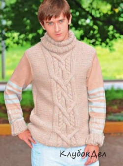 Мужской свитер с центральной косой. Схемы и описание вязания на спицах