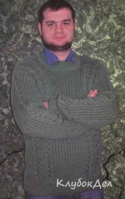 Мужской пуловер спицами. Вязаный пуловер для мужчин схема