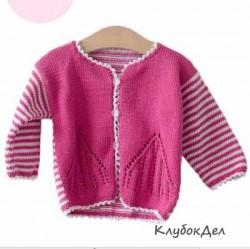 Бело-розовый жакетик для девочки 6-12 месяцев. Детские жакеты, схемы и описание