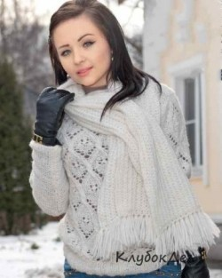 Вязаный спицами ажурный джемпер и шарф для женщин. Схемы и описание