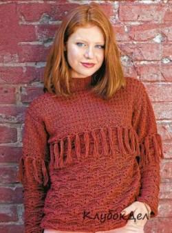 Вязаный пуловер крючком и спицами. Пуловеры для женщин