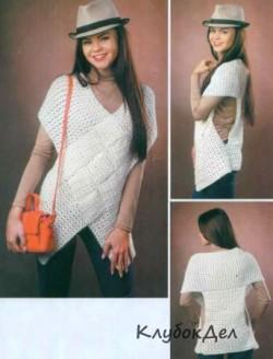 Белый жилет «Плетенка». Вязание жилета крючком для женщин