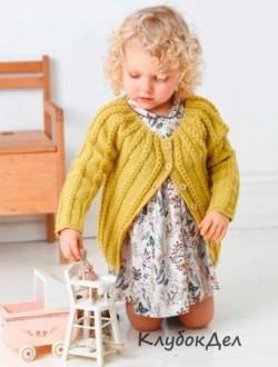 Кардиган с круглой кокеткой для девочки. Вязание спицами схема и описание вязания