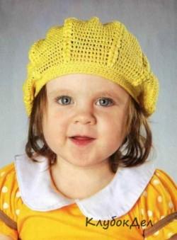 Желтый летний беретик для детей. Вязание для детей крючком