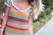 Цветное платье крючком. Схемы вязания платья, выкройка и описание