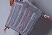 Вязаное пончо в технике интарсия. Пончо спицами для женщин с описанием
