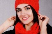 Шапка с ушками и снуд, вязание спицами для женщин