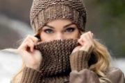 Шапочка и снуд коричневого цвета. Вязание спицами, выкройка и описание вязания