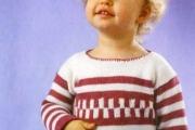 Теплый пуловер спицами с геометрическим орнаментом. Вязание спицами для детей