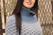 Накидка с узором со снятыми петлями. Вязание спицами для женщин