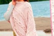 Пончо с «косами». Вязаные спицами пончо, пальто, кардиганы для женщин с описанием бесплатно