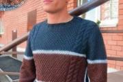 Мужской свитер с декоративной обвязкой. Вязание спицами для мужчин