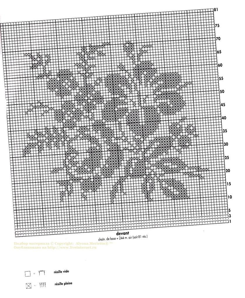 Рисунок филейного вязания крючком 724